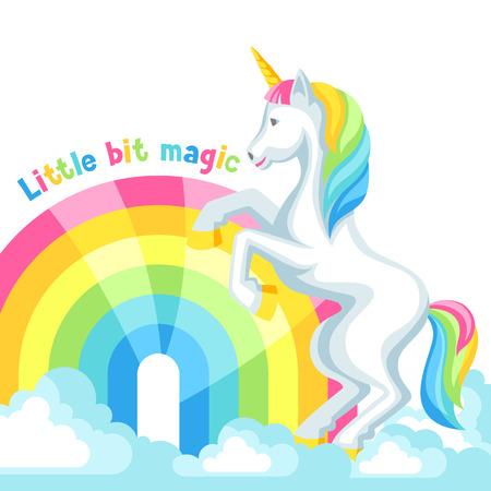 Unicorn and rainbow vector illustration with