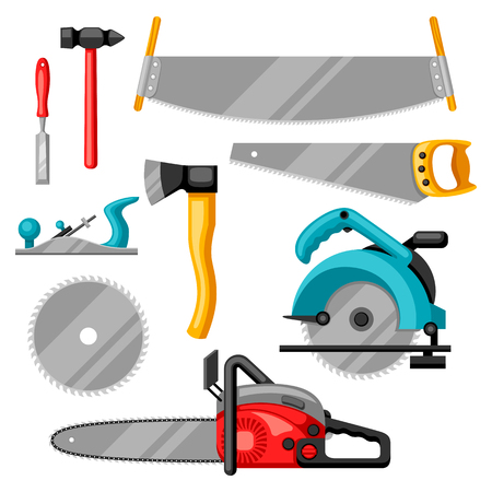 Set of equipment and tools for forestry and lumber industry. Stock Illustratie