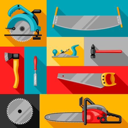 Background with equipment and tools for forestry and lumber industry.
