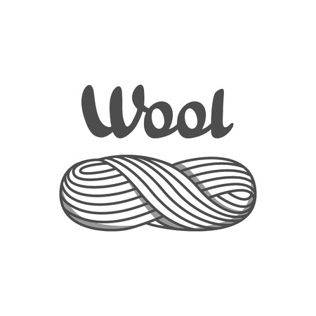 Wool emblem with with skein of yarn. Label for hand made, knitting or tailor shop.
