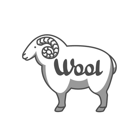 Wool emblem with merino sheep. Label for hand made, knitting or tailor shop.