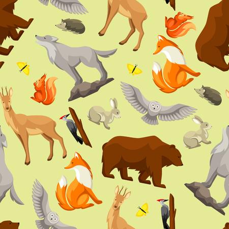 Woodland forest animals and birds seamless pattern stylized illustration. Illustration