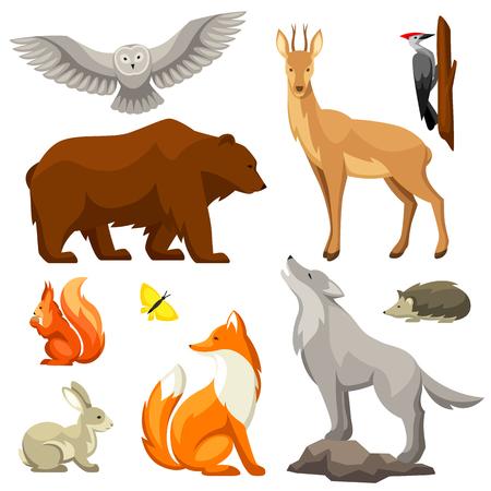 Conjunto de animales y aves del bosque arbolado, ilustración estilizada.