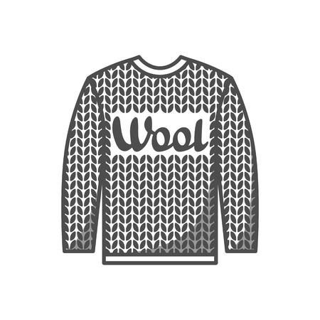 Wool emblem with knitted sweater. Label for hand made, knitting or tailor shop.