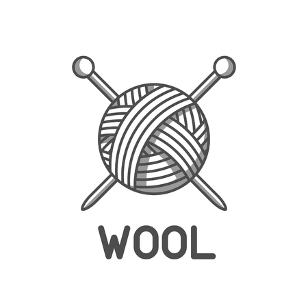 Wool emblem with with ball of yarn and knitting needles. Label for hand made, knitting or tailor shop. Illustration