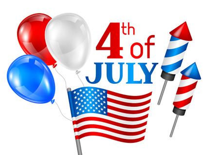 Tarjeta de felicitación del día de la independencia del cuatro de julio. Ilustración patriótica estadounidense Ilustración de vector