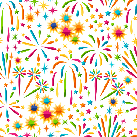 Seamless pattern with bright colorful fireworks and salute.
