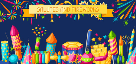 Banner with colorful fireworks. Different types of pyrotechnics, salutes and firecrackers.