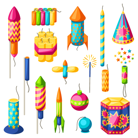 Set of colorful fireworks. Different types of pyrotechnics, salutes and firecrackers.