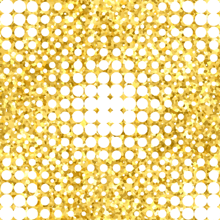 Abstract geometric seamless pattern with gold glitter texture.
