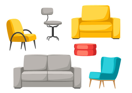 Interior and furniture set. Sofa armchair and pouf. Illustration