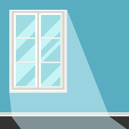 White plastic window on blue wall illustration.