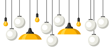 Banner with hanging chandeliers, lamps and lighting fixtures. Illustration