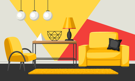 Interior living room. Furniture and home decor. Illustration in flat style. Illustration