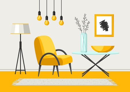 Interior living room. Furniture and home decor. Illustration in flat style.
