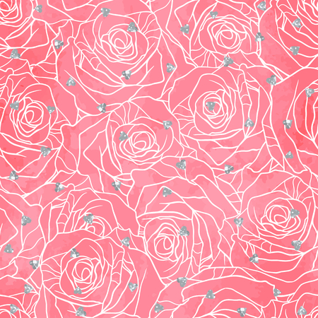 Wedding seamless pattern background with roses and glitter.