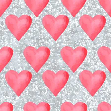 Red hearts seamless pattern with hearts.