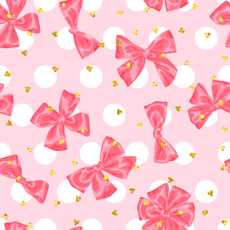 Wedding seamless pattern background with bows and glitter.