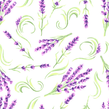 Lavender flowers seamless pattern. Watercolor natural illustration of Provence herbs.