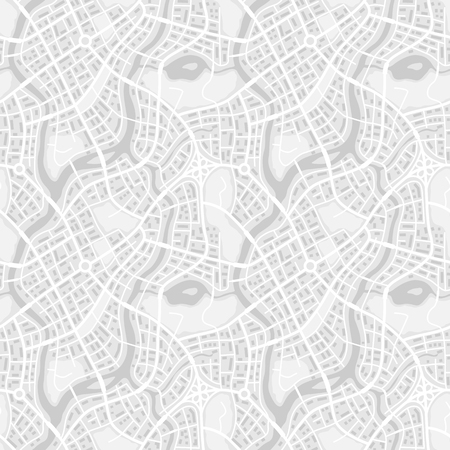 Abstract city map seamless pattern. Illustration of streets, roads and buildings.
