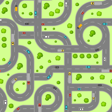 Seamless pattern top view of roads. Crossroads and junctions with cars in countryside.