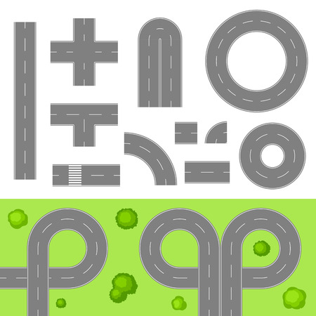 Set of roads top view elements. Crossroads, traffic circles and junctions with trees on grass. Illustration