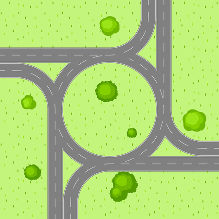 Top view of road junction. Scene with highway and trees in countryside.