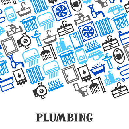 Plumbing background design. Illustration for sanitary engineering shop. Sale, service and installation.