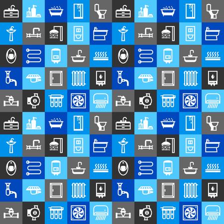 配管シームレスパターン。衛生エンジニアリングショップの背景。販売、サービス、およびインストール。 写真素材 - 102489512