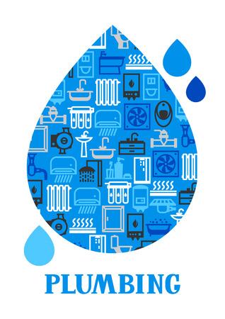 Sanitair achtergrond ontwerp. Illustratie voor sanitairwinkel. Verkoop, service en installatie. Stockfoto - 102489605