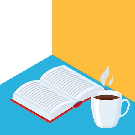 Isometric icon book with coffee. Education or bookstore illustration in flat design style.