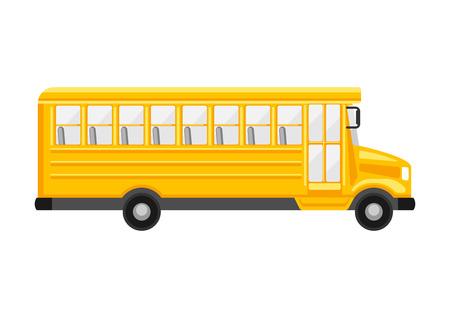 Illustration of yellow school bus on white background. Illustration