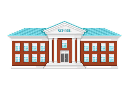 Illustration of school building on white background.