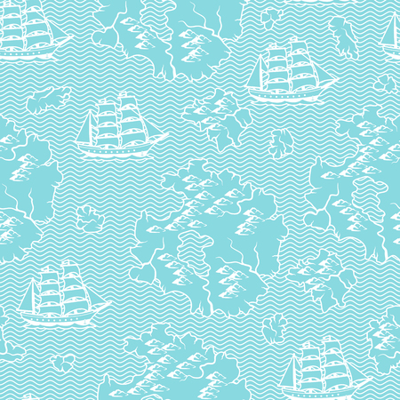 Seamless pattern with old nautical map. Islands, ships and ocean.