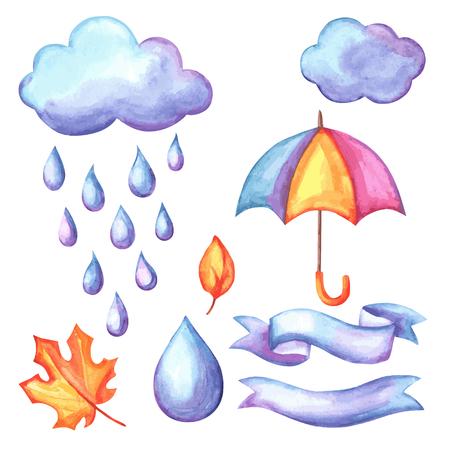 Set of aquarelle umbrella, clouds and rain. Watercolor decorative autumn elements. Illustration