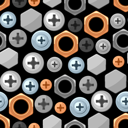 Seamless pattern with bolts nuts nails. Various iron screws collection.