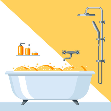 Illustration of bathroom interior. Background for plumbing and furniture stores. Illustration
