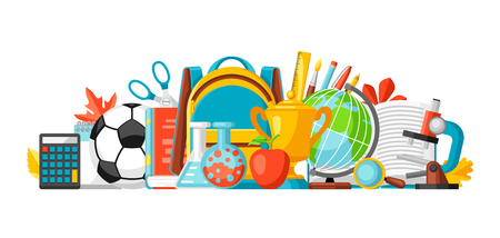 School banner with education items. Illustration of colorful supplies and stationery. Vector Illustration