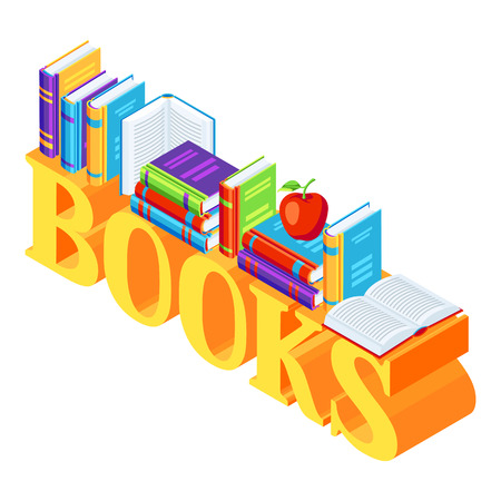 Isometric word with books. Education or bookstore illustration in flat design style. Illustration