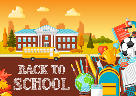 Illustration of school building and bus. City landscape with education items.