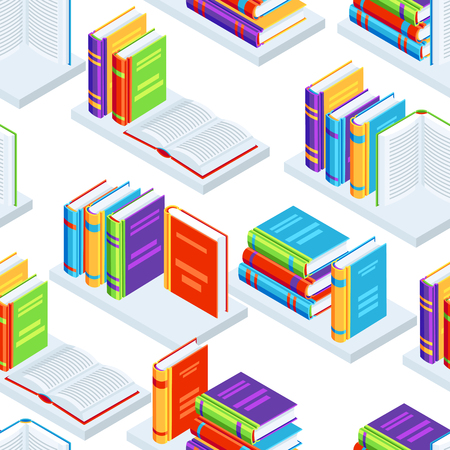 Seamless pattern with isometric books. Education or bookstore background in flat design style.