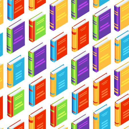Naadloos patroon met isometrische boeken. Onderwijs of boekhandel achtergrond in platte ontwerpstijl. Stockfoto - 104450651