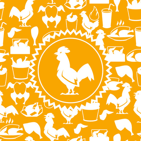 Fast food fried chicken meat. Background with legs, wings and basket. Standard-Bild - 104279609