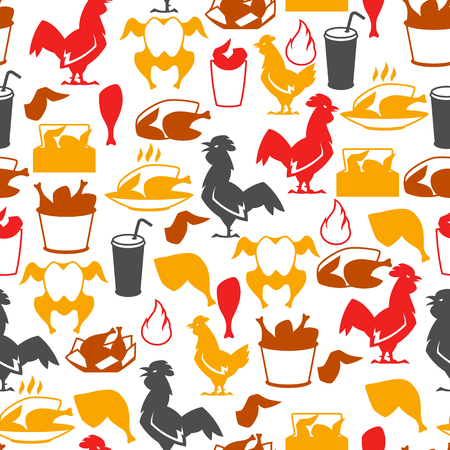 Fast food fried chicken meat. Seamless pattern with legs, wings and basket. Illustration