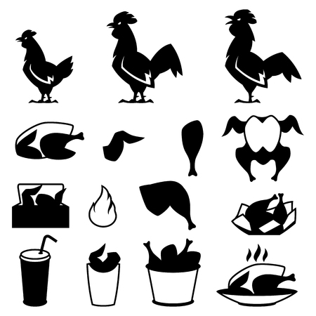 Fast food fried chicken meat. Icon set of legs, wings and basket.