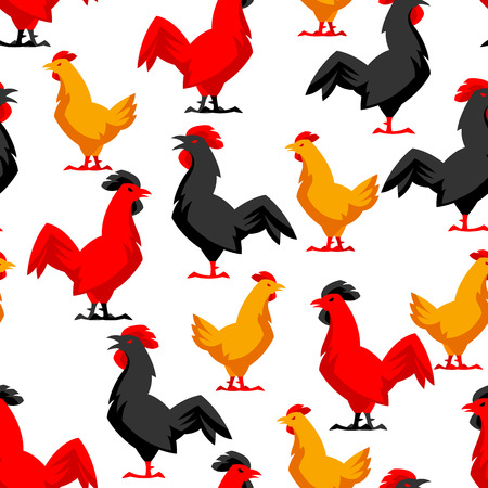 Seamless pattern with variety chickens. Stylized illustration.
