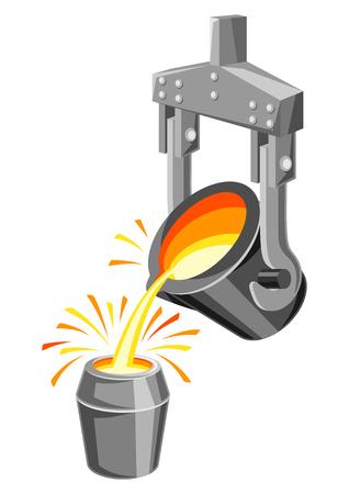 Metallurgische pollepel illustratie. Industriële apparatuur voor het gieten van metaal.