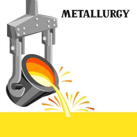 Metallurgical ladle illustration. Industrial equipment for casting metal. Çizim