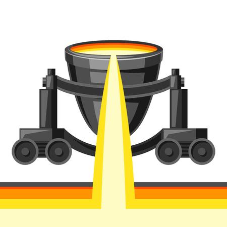 Metallurgische trolley illustratie. Industriële apparatuur voor het gieten van metaal.