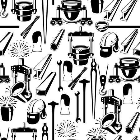 Metallurgical seamless pattern. Industrial items and equipment. Stock Illustratie